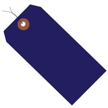 """Pre-Wired Blue Plastic Tags #5 - 4 3/4 x 2 3/8"""""""