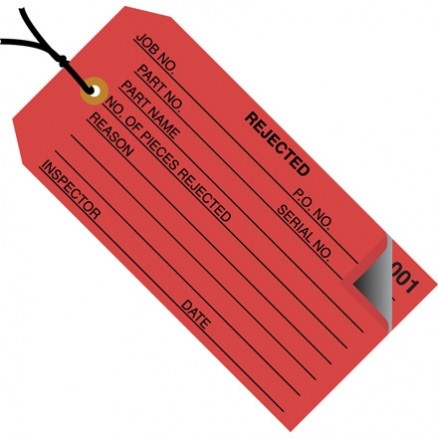 "Pre-Strung 2-Part Numbered ""Rejected"" Inspection Tags (000-499), Red, 4 3/4 x 2 3/8"""