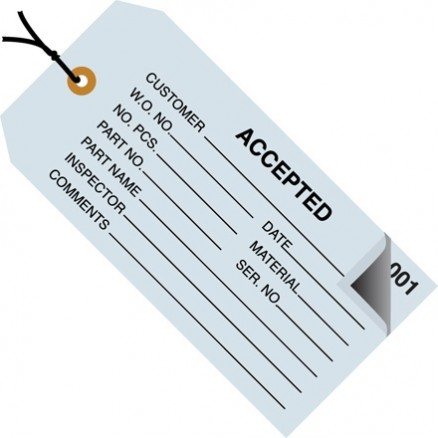 "Pre-Strung ""Accepted"" Inspection Tags, 4 3/4 x 2 3/8"", Blue"