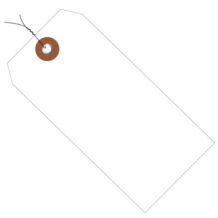 """Pre-Wired White Plastic Tags #5 - 4 3/4 x 2 3/8"""""""