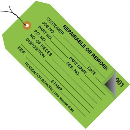 "Pre-Wired 2-Part Numbered ""Repairable or Rework"" Inspection Tags (000-499), Green, 4 3/4 x 2 3/8"""