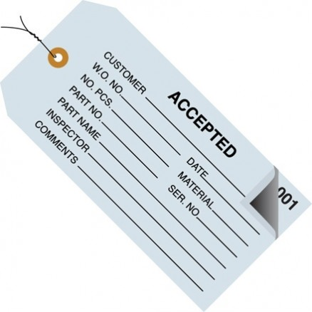 "Pre-Wired 2-Part Numbered ""Accepted"" Inspection Tags (000-499), 4 3/4 x 2 3/8"", Blue"