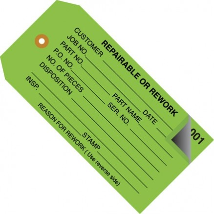 "2-Part Numbered ""Repairable or Rework"" Inspection Tags (000-499), Green, 4 3/4 x 2 3/8"""