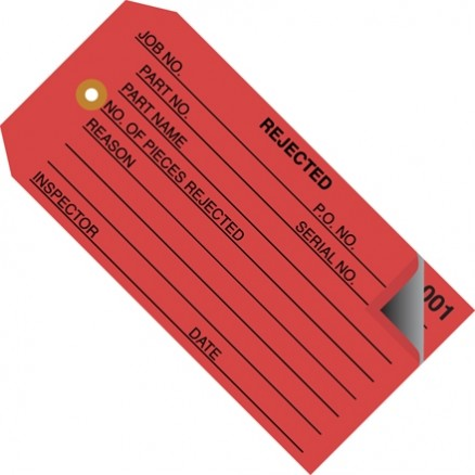 "2-Part Numbered ""Rejected"" Inspection Tags (000-499), Red, 4 3/4 x 2 3/8"""