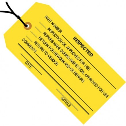 "Pre-Strung ""Inspected"" Inspection Tags, Yellow, 4 3/4 x 2 3/8"""