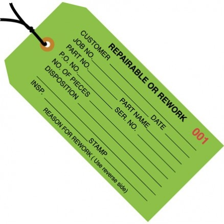 "Pre-Strung ""Repairable or Rework"" Inspection Tags, Green, 4 3/4 x 2 3/8"""