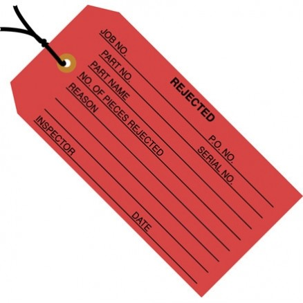 "Pre-Strung ""Rejected"" Inspection Tags, Red, 4 3/4 x 2 3/8"""