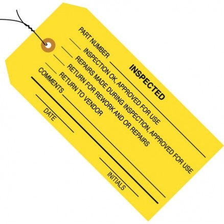 "Pre-Wired ""Inspected"" Inspection Tags, Yellow, 4 3/4 x 2 3/8"""