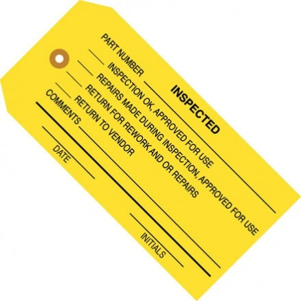 """Inspected"" Inspection Tags, Yellow, 4 3/4 x 2 3/8"""