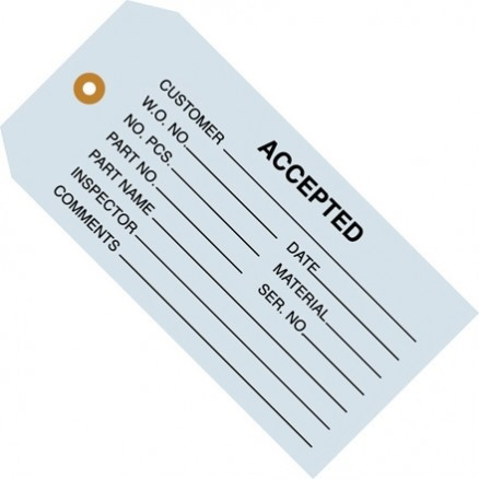 """Accepted"" Inspection Tags, Blue, 4 3/4 x 2 3/8"""