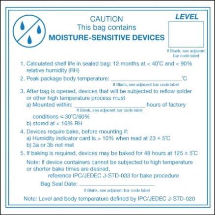 """"""" Caution Moisture Sensitive Devices"""" Labels, 4 x 4"""""""