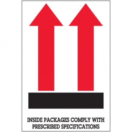 """ Inside Packages Comply..."" Arrow Labels, 4 x 6"""