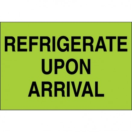 """"""" Refrigerate Upon Arrival"""" Green Climate Labels, 2 x 3"""""""