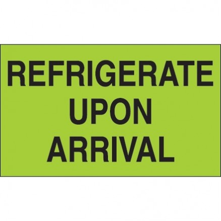 """"""" Refrigerate Upon Arrival"""" Green Climate Labels, 3 x 5"""""""