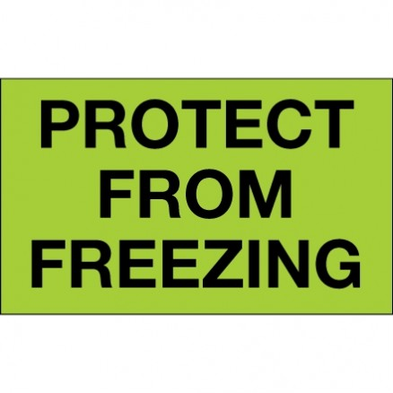 """"""" Protect From Freezing"""" Green Climate Labels, 3 x 5"""""""