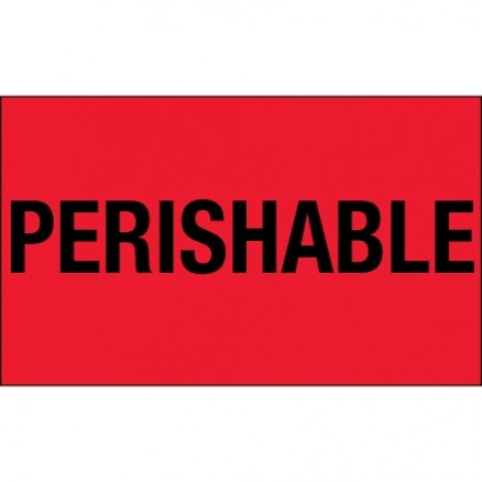 """ Perishable"" Fluorescent Red Climate Labels, 3 x 5"""