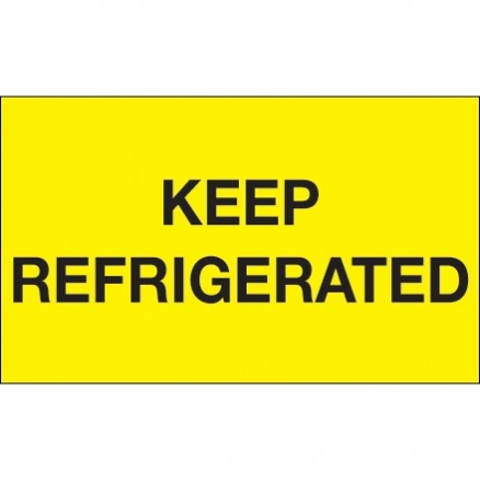""""""" Keep Refrigerated"""" Fluorescent Yellow Climate Labels, 3 x 5"""""""
