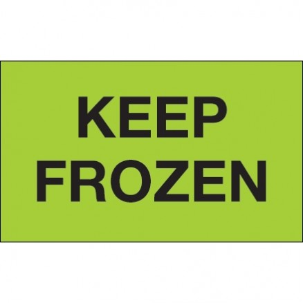 """"""" Keep Frozen"""" Green Climate Labels, 3 x 5"""""""