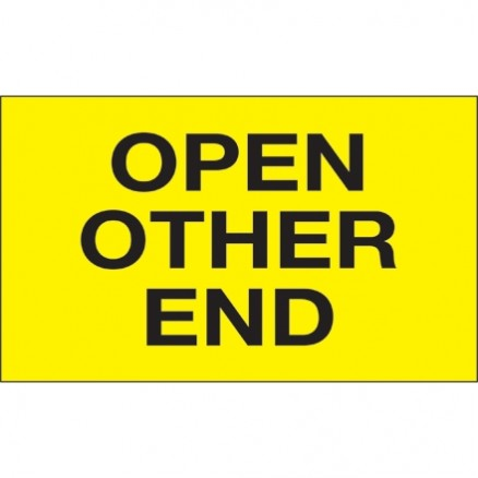 """ Open Other End"" Fluorescent Yellow Labels, 3 x 5"""