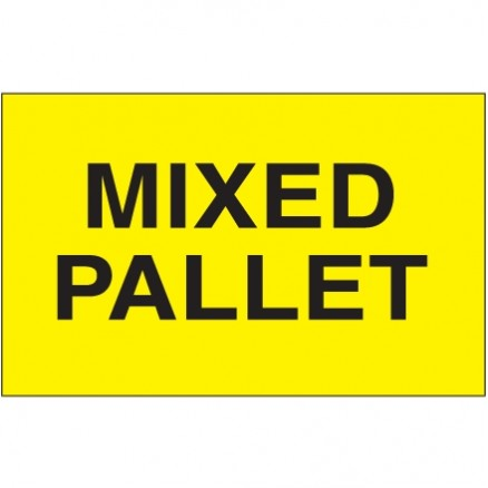 """ Mixed Pallet"" Fluorescent Yellow Labels, 3 x 5"""