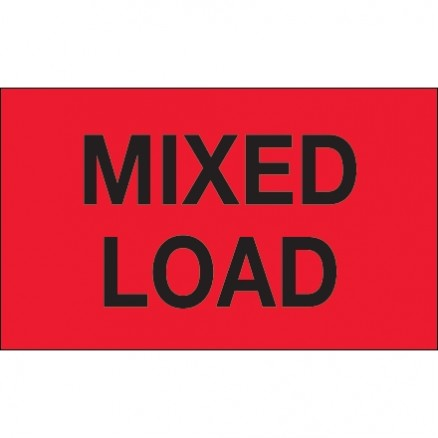 """ Mixed Load"" Fluorescent Red Labels, 3 x 5"""