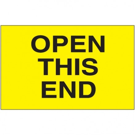 """ Open This End"" Fluorescent Yellow Labels, 3 x 5"""