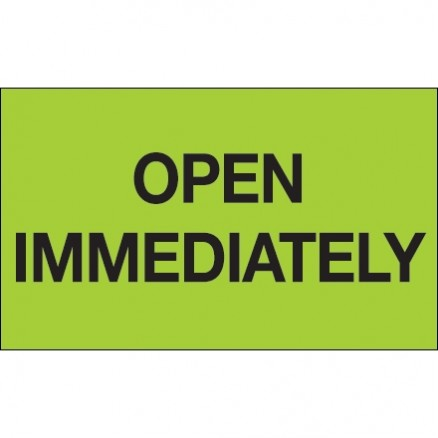 """ Open Immediately"" Green Labels, 3 x 5"""
