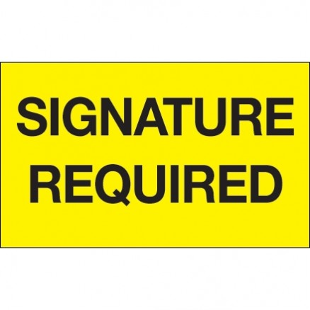 """ Signature Required"" Fluorescent Yellow Labels, 3 x 5"""