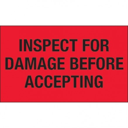 """ Inspect For Damage Before Accepting"" Fluorescent Red Labels, 3 x 5"""