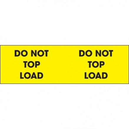 """ Do Not Top Load"" Fluorescent Yellow Labels, 3 x 10"""