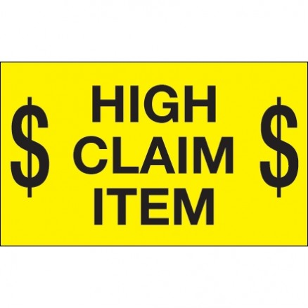 """ $ High Claim Item $"" Fluorescent Yellow Labels, 3 x 5"""