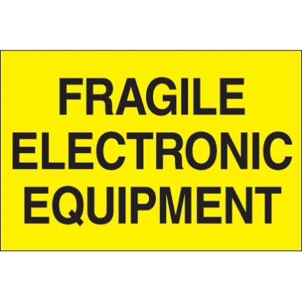 """ Fragile - Electronic Equipment"" Fluorescent Yellow Labels, 2 x 3"""