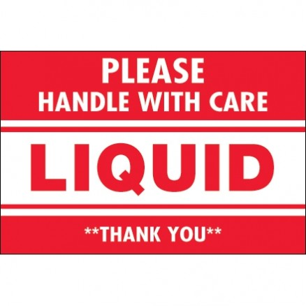 """ Please Handle With Care - Liquid - Thank You"" Labels, 2 x 3"""