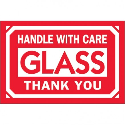 """ Glass - Handle With Care - Thank You"" Labels, 2 x 3"""