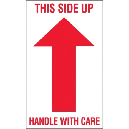 """ This Side Up - Handle With Care"" Arrow Labels, 3 x 5"""