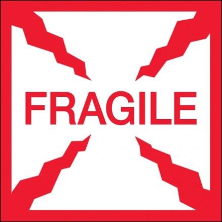 """ Fragile"" Labels, 2 x 2"""