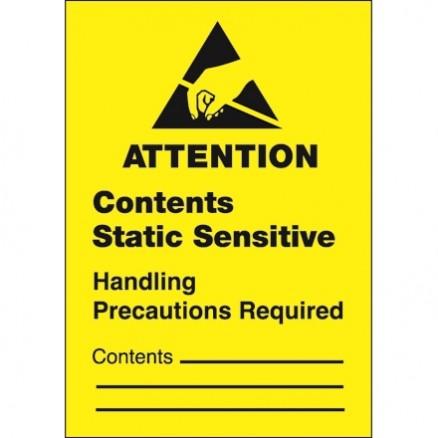"Static Warning Labels -"" Contents Static Sensitive"", 1 3/4 x 2 1/2"""