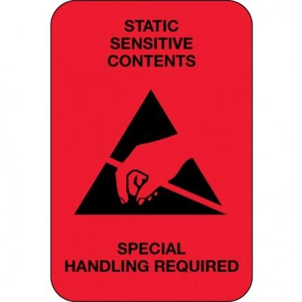 "Static Warning Labels -"" Static Sensitive Contents"", 2 x 3"""