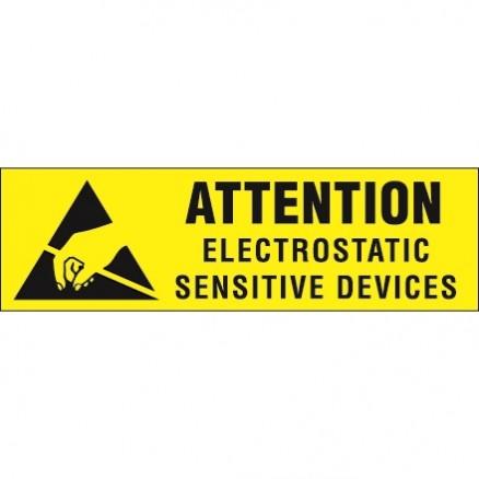 "Static Warning Labels -"" Electrostatic Sensitive Devices"", 3/8 x 1 1/4"""