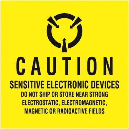 """Static Warning Labels -"""" Sensitive Electronic Devices"""", 4 x 4"""""""