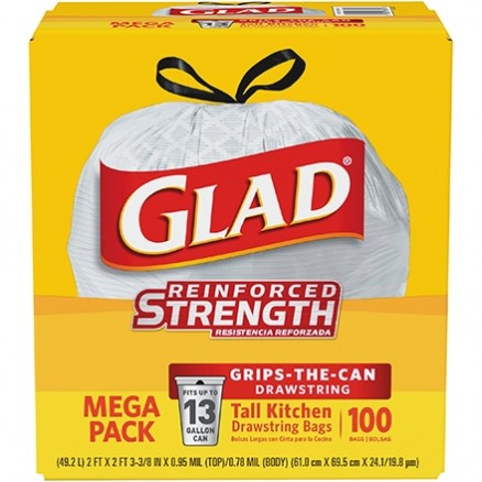 Glad® Drawstring Trash Bags, 13 Gallon, White
