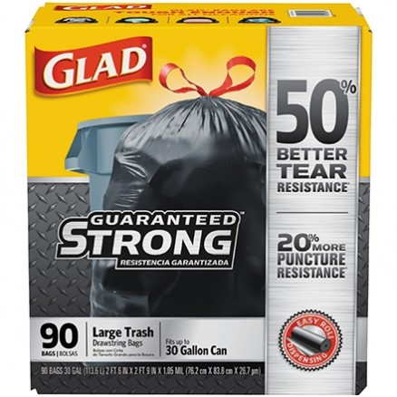 Glad® Trash Bags, 30 Gallon, Black