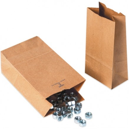Kraft Paper Hardware Bags, #6, Virgin - 6 x 3 5/8 x 11""
