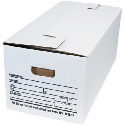 "Interlocking Flap File Storage Boxes, 24 x 12 x 10"""