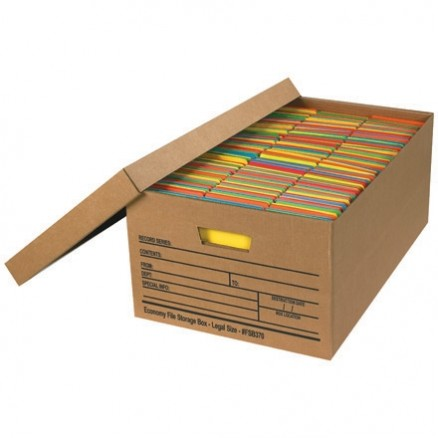 Economy File Storage Boxes with Lid, 24 x 15 x 10""
