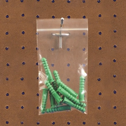 "Reclosable Poly Bags, 4 x 6"", 2 Mil, With Hang Holes"