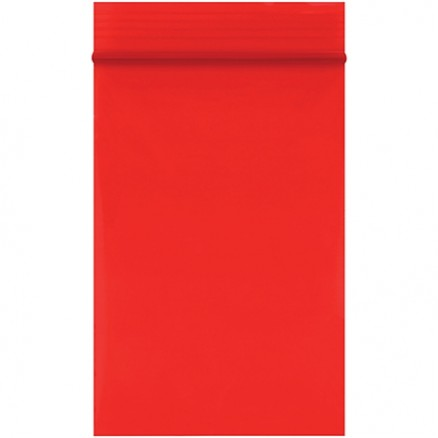 "Reclosable Poly Bags, 2 x 3"", 2 Mil, Red"