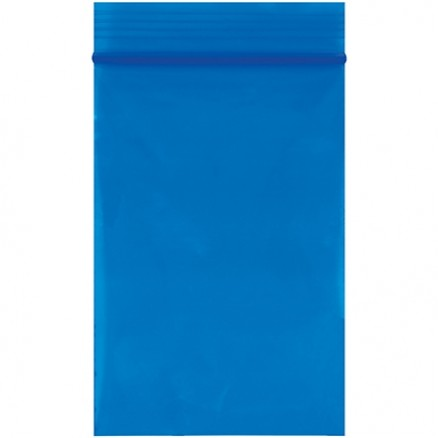 "Reclosable Poly Bags, 2 x 3"", 2 Mil, Blue"