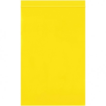 "Reclosable Poly Bags, 6 x 9"", 2 Mil, Yellow"