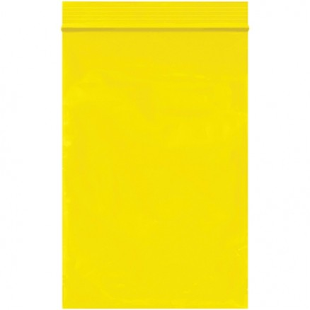 "Reclosable Poly Bags, 4 x 6"", 2 Mil, Yellow"